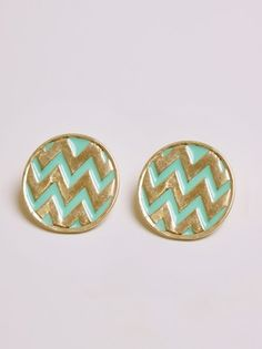 Teal and gold chevron earrings
