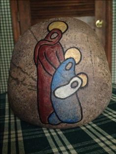 "Nativity painted rock - Christmas painted stone - about 4.5x4"" - simple line drawing"