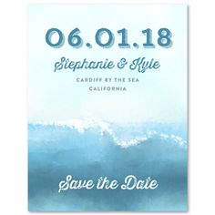 Save the date with a stunning watercolor interpretation of Swamis famous wave!