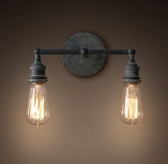 ABOVE THE VANITY OF MASTER BATH--YOU WILL NEED TWO 20th C. Factory Filament Bare Bulb Double Sconce - Weathered Zinc