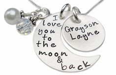 personalized i love you to the moon and back necklace with child's name.