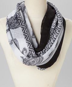 Another great find on #zulily! Black & White Paisley Infinity Scarf by Jasmine Trading Corp #zulilyfinds