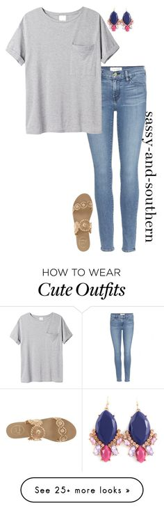 """cute school outfit"" by sassy-and-southern on Polyvore featuring Frame Denim, AR SRPLS and Jack Rogers"