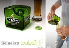 Heineken Cube (Concept) on Packaging of the World - Creative Package Design Gallery Clever Packaging, Bottle Packaging, Packaging Design, Beverage Packaging, Cube Design, Design Design, Clever Design, Food Design, Bottle Design