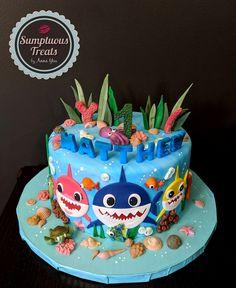 Pink Fong Baby Shark Birthday Cake ~ Custom-Made-To-Order Cakes ~ Edible Art. Shark Birthday Cakes, Themed Birthday Cakes, 1st Boy Birthday, Birthday Ideas, Baby Hai, Finding Nemo Cake, Shark Cake, Order Cake, Savoury Cake