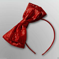 NWT Toby N. Y. C. Adorable Girl's Nice Red Satin/Sequin Bow Headband -One size - January 18, 2014 - 7 day Auction