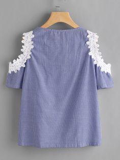 Crochet Applique Trim Open Shoulder Lace Up Pinstriped TopFor Women-romwe