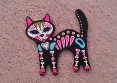 Dia de los Muertos Cat Magnet by eastbaycalifornia on Etsy