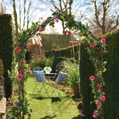 decorative one whilst a gazebo adorned with climbing plants