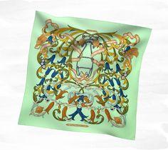 Scarves Hermès green - Silk Twill - Scarves 90 - Women | Hermès, Official Website