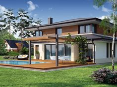 Pergola Connected To House Double Storey House Plans, Two Story House Plans, Dream House Plans, Dream Houses, Flat Roof House, Facade House, Modern House Colors, House Columns, Rest House