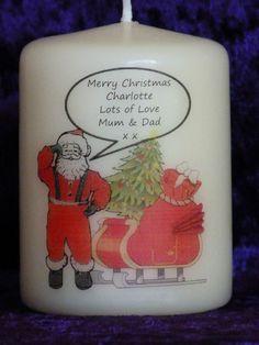 Personalised Christmas Santa Sleigh Xmas Tree Birthday Candle Gift  Keepsake Christmas Ideas, Merry Christmas, Christmas Gifts, Santa Sleigh, Gift Hampers, Xmas Tree, Birthday Candles, Crafty, Ebay
