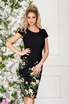 Rochii office de vară la modă în 2020 - Rochii office în vogă vara acesta Short Sleeve Dresses, Dresses With Sleeves, Beauty Women, High Neck Dress, Female, Floral, Casual, Shopping, Fashion
