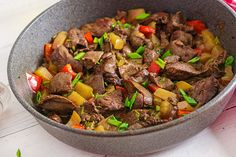 Fried chicken liver with apples and paprika in pan. photo by Timolina on Envato Elements Healthy Dishes, Healthy Recipes, Fried Chicken Livers, Mexican Street Food, Watermelon Radish, Boiled Chicken, Fresh Vegetables, Chicken Recipes, Food And Drink