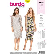 The figure-hugging strap dress for Misses has a heart-shaped neckline and panel seams, chic for summer yet suitable for special occasions. A Burda Style sewing pattern available at Simplicity.com.