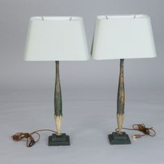 Pair Tall Slender Lamps Made with Antique Wood Fragments --- Pair tall table lamps made with circa 1900 carved and painted wood fragments. New US standard electrical wiring. Measurement shown includes lampshades. Sold and priced as a pair. ---  Item:  1462 --- Retail Price:  $2195