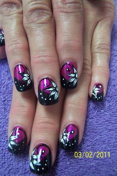 black and white with pink - a very girly manicure with handpaintded black and white flowers