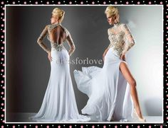 Wholesale Evening Dress - Buy Top Glamorous Long Sleeves White Evening Dress High Collar Colorful Beads Chiffon Long Pageant Dress, $230.92 | DHgate