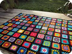 Black Edged Crochet Granny Square Blanket by PaisleyJade
