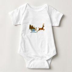Santa and a reindeer baby bodysuit - toddler youngster infant child kid gift idea design diy