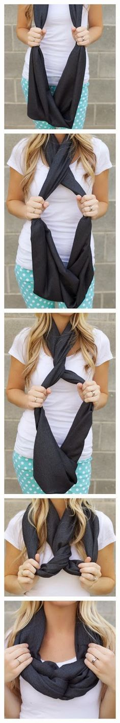 , infinity scarfs and scarf knots. ... How To Wear An Infinity Scarf - A Free Guide To Infinity Scarf Style ... Different ways to tie a scarf.