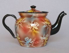 Vintage French Enamelware Teapot - Richly Varied Coloring
