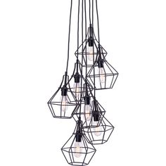 Dot & Bo Kennewick Chandelier (1.935 BRL) ❤ liked on Polyvore featuring home, lighting, ceiling lights, fillers, home decor und black wire basket