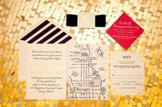 Stationary #blisschicago #weddings #sparkle #neverdullyoursparkle #invitation #map #rsvp #napkins