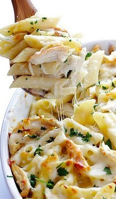 Ingredients: CHICKEN BAKED ZITI 12 ounces ziti (or any pasta shape) 2 cups shredded, cooked chicken (about 2 small chicken breasts) 1 batch alfredo sauce (see b