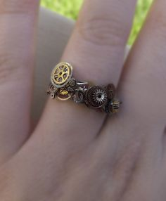 ETSY - Steampunk ring, 925 silver, unisex steampunk ring, watch gear ring, silver, bronze and gold ring, OOAK. $40.00.