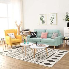 Eclectic living room design with cute colors! Colourful Living Room, Eclectic Living Room, Cozy Living Rooms, Home Living Room, Living Room Decor, Pastel Living Room, Blue Yellow Living Room, Bedroom Decor, Home Room Design