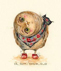 Inga Paltser - Инга Пальцер - Cute Owl Illustration