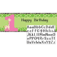 Wild At One Giraffe Giant Party Banner with Stickers :   Banner: 152.4cm x 50.8cm; Includes Alphabet Sticker sheet for customising your banner.