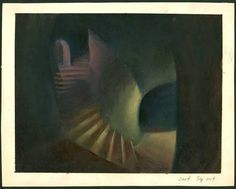 Oil Concept Painting of the Sorcerers Lair from Fantasia