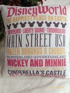Disney Subway Art - Family Pillow - Christmas gift - Childs gift - Subway tile pillow - Disney World - Mickey Mouse pillow - 11x11