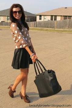 This Playful pleather skirt with polka dot sweater is absolutely adorable.