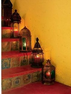 Beautiful Bohemian Laterns Lighting the Terrific Tiled Staircase..