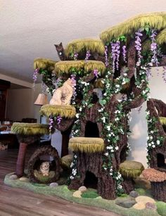Cat Care Family Of Cats Gets The Most Beautiful Cat Tree In The World - The Dodo - All the cats in the family love it so much. Cool Cat Trees, Diy Cat Tree, Cool Cats, I Love Cats, Crazy Cats, Cat Anime, Cat Playground, Cat Room, Cat Furniture