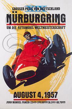 Nurburgring, Alfa Romeo Grand Prix Fangio by © Dennis Simon Auto Poster, Car Posters, Poster S, Pin Ups Vintage, Vintage Race Car, Classic Motors, Classic Cars, Grand Prix, Course Automobile