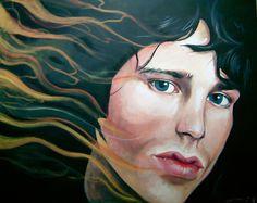 "Jim Morrison - ""Light My..."" Acrylic on canvas portrait by Kim Overholt."