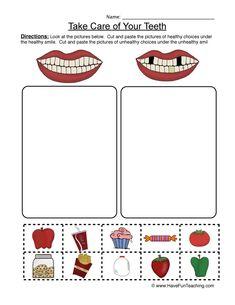 Clean Teeth Worksheet - Sorting Preschool Lesson Plans, Preschool Worksheets, Preschool Activities, Printable Worksheets, Space Activities, Free Printables, Science Worksheets, Vocabulary Worksheets, Motor Activities
