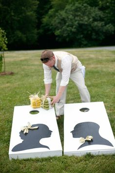 Adorable idea for an outside wedding reception
