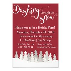 Christmas Party Invite in Red with Snowflakes. Click through to find matching games, favors, thank you cards, inserts, decor, and more. Or shop our 1000+ designs for all of life's journeys. Weddings, birthdays, new babies, anniversaries, and more. Only at Aesthetic Journeys