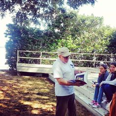 HAPPENING NOW: Mr. K holds art class on the outdoor stage on the riverbank.  viewbook.sms.org