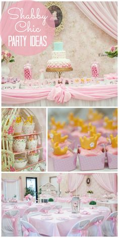 A pink shabby chic girl birthday party with crowns and tutus for party favors!  See more party ideas at CatchMyParty.com!