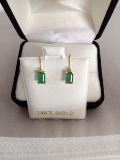 14K Gold Genuine Emerald Gemstone Earrings Emerald Cut Pierced Lever Backing. etsy