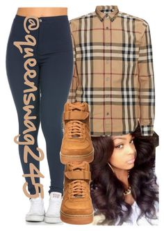 """Burberry"" by queenswag245 ❤ liked on Polyvore featuring Burberry and NIKE"