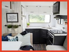 Our DIY Camper Kitchen Makeover - Painting Oak Cabinets Rv Cabinets, Two Tone Kitchen Cabinets, Black Cabinets, Built In Cabinets, Rv Living, Tiny Living, Painting Oak Cabinets, Camper Kitchen, Diy Camper