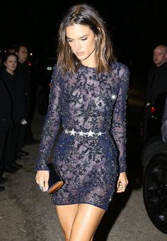 Alessandra Ambrosio wore a midnight blue #ZuhairMurad Fall 2015 Couture star-embroidered dress to a pre-Oscar party.  The Fashion Court (@TheFashionCourt) | Twitter