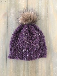 Items similar to Girls Fur Pom Hat on Etsy Pom Pom Hat, Scarves, Winter Hats, Crochet Hats, Trending Outfits, Unique Jewelry, Handmade Gifts, Girls, Etsy